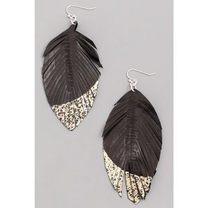 Kameakay Genuine Leather Gold Dipped Earrings